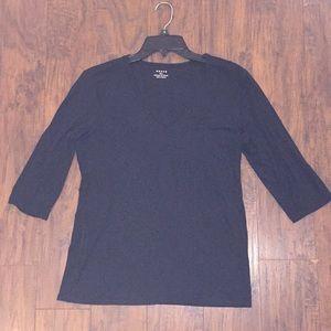 Grace black v neck 3/4 sleeve top